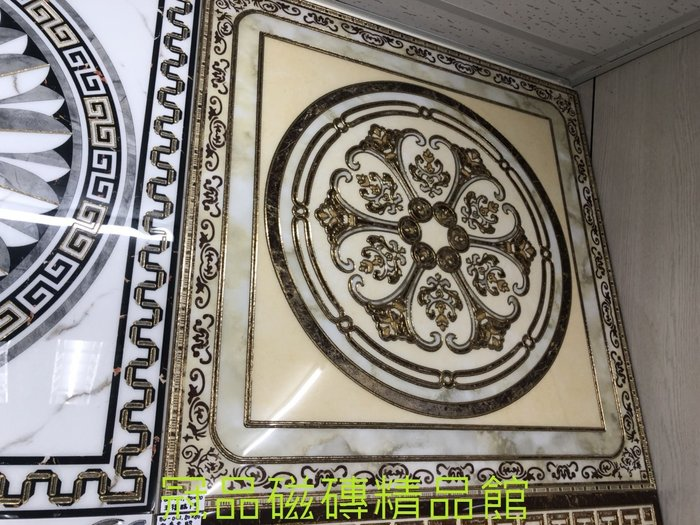 ◎冠品磁磚精品館◎進口精品 玄關燙金微晶石花磚 -80X80CM