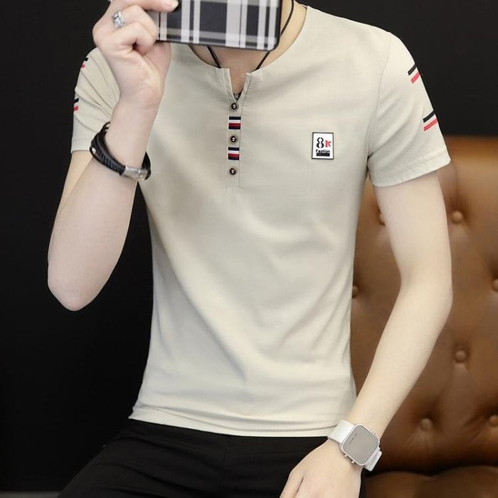 正韓夏季短袖男T恤修身v領韓版2018夏天個性男士半袖上衣服男裝體恤潮