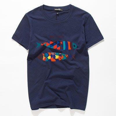 [C.M.平價精品館]新品特價M~5XL活力彩色雙魚舒適百搭棉質短袖T恤    加大碼