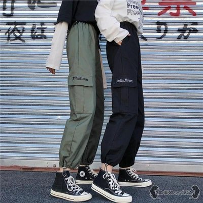 工裝褲 女寬鬆學生法式新款高腰束腳潮嘻哈直筒褲子 -全館免運