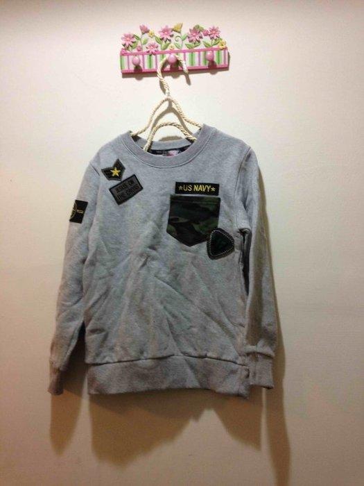 韓國軍徽刷毛灰色棉T