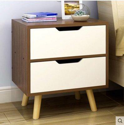 『格倫雅』歐意朗簡約 床頭櫃歐式 實木腿臥室儲物櫃子多功能床邊收納櫃鬥櫃^15735