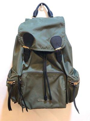 BURBERRY 大款軍綠色多口袋束口拼接皮革後背包