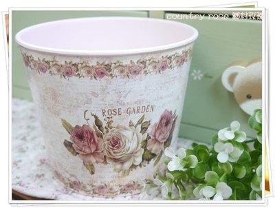 鄉村田園風圓筒型粉紅玫瑰花器 花盆 花瓶   插花器 花卉 鐵皮花器 灑水器【鄉村玫瑰】
