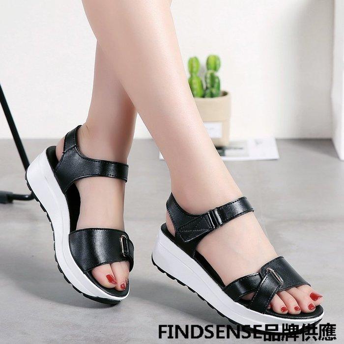 FINDSENSE品牌 新款 日本 女 高品質 真皮 簡約 純色 百搭 厚底增高 舒適 時尚涼鞋 休閒鞋 潮流鞋子