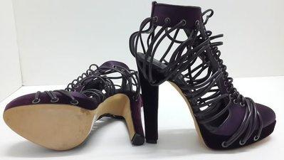 Versus(Versace凡賽斯) 全新 真品 紫色 真絲缎面 高跟鞋 義大利製 送口罩