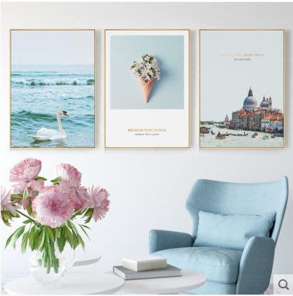 『格倫雅』戀戀湖畔北歐裝飾畫客廳掛畫天鵝建築壁畫沙發背景墻畫藍色小清新^17766