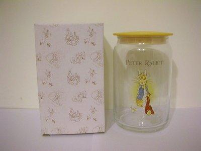全新  PETER RABBIT  彼得兔素雅黃蓋質優厚實玻璃密封罐  /  保鮮罐 /  收納罐 / 萬用花瓶
