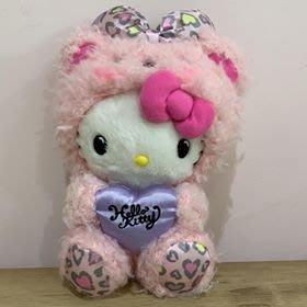 【東京家族】Hello Kitty凱蒂貓 粉紅 豹紋 熊玩偶裝 絨毛玩偶 娃娃