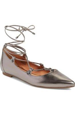 預購~~真品~~Halogen® 'Owen' Pointy Toe 銀色 尖頭綁帶平底鞋 (size 5.5)
