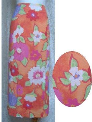 ~麗麗ㄉ大碼舖~大尺寸4PW(28吋)桔色印花前岔中長裙~全賣場3件免運~小碼拍賣