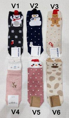 現貨 韓國 貓咪 雪人 北極熊 薑餅人 豬 中統襪 襪子  22-25cm
