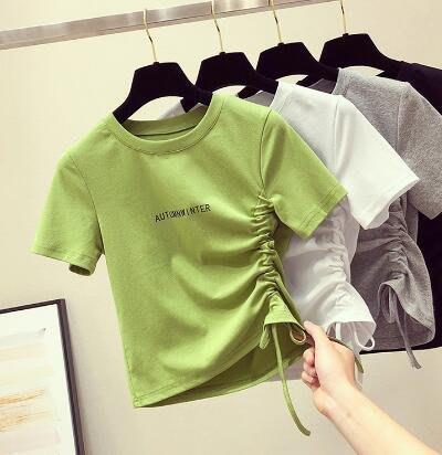 莎芭 牛油果綠t恤 夏季修身抽繩設計感小衆心機短款上衣 短版t恤 閨蜜裝