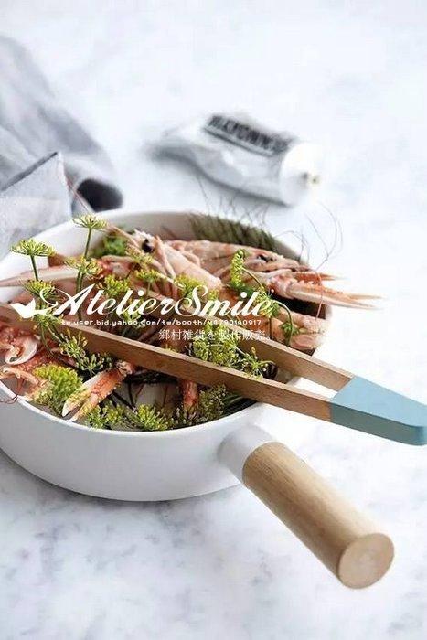 [ Atelier Smile ] 鄉村雜貨 北歐風 實木手柄純白搪瓷湯鍋 粥鍋 沙拉碗 大款 (現+預)