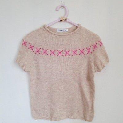 BEAR HOUSE(A2) 菱形格紋點綴 圓領樣式短袖毛衣\
