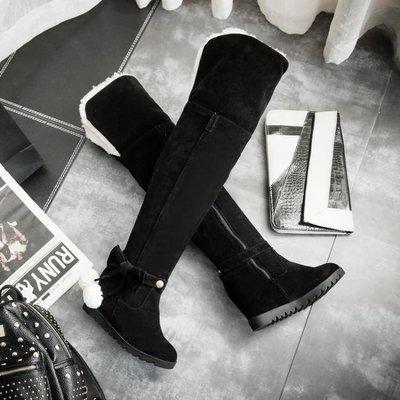 美麗鞋坊2018冬靴加絨加厚過膝長靴雪地靴女中跟長筒靴內增高冬季女靴子