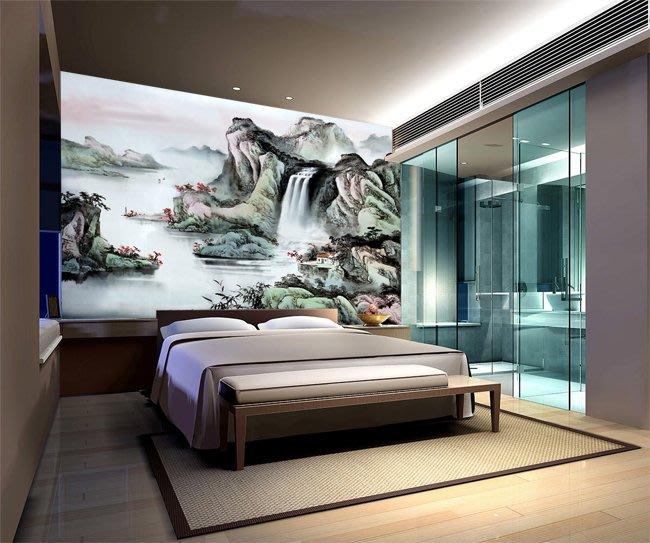 客製化壁貼 店面保障 編號F-612 國畫山水 壁紙 牆貼 牆紙 壁畫 星瑞 shing ruei