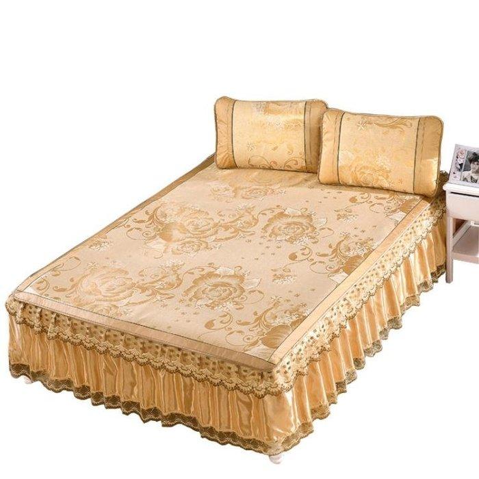限定款床罩組免運床罩夏季床裙式冰絲席夏涼席子三件組可拆卸蕾絲花邊床套保潔墊(可免費開立發票)