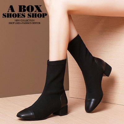 格子舖*【KDW5209】3.5CM中筒靴 秋冬時尚皮革拼接彈力布黑色襪靴 馬丁靴 彈力靴