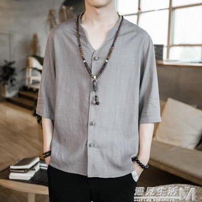 亞麻t恤唐裝襯衫男士短袖夏季中國風棉麻寬鬆復古大碼半截袖上衣    全館免運