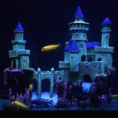 魚缸裝飾 魚缸造景擺飾 魚缸假山城堡裝飾造景套餐仿真水草擺件屋躲避洞穴歐式風格城堡屋全館免運價格下殺