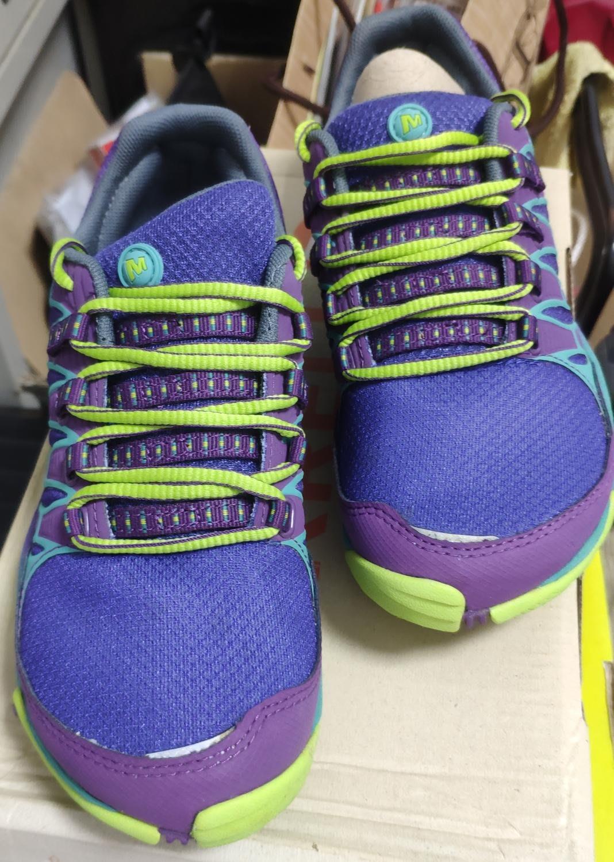 美國 MERRELL JO1682 紫色/萊姆女款透氣健行鞋休閒鞋童鞋 23 公分 / US#6