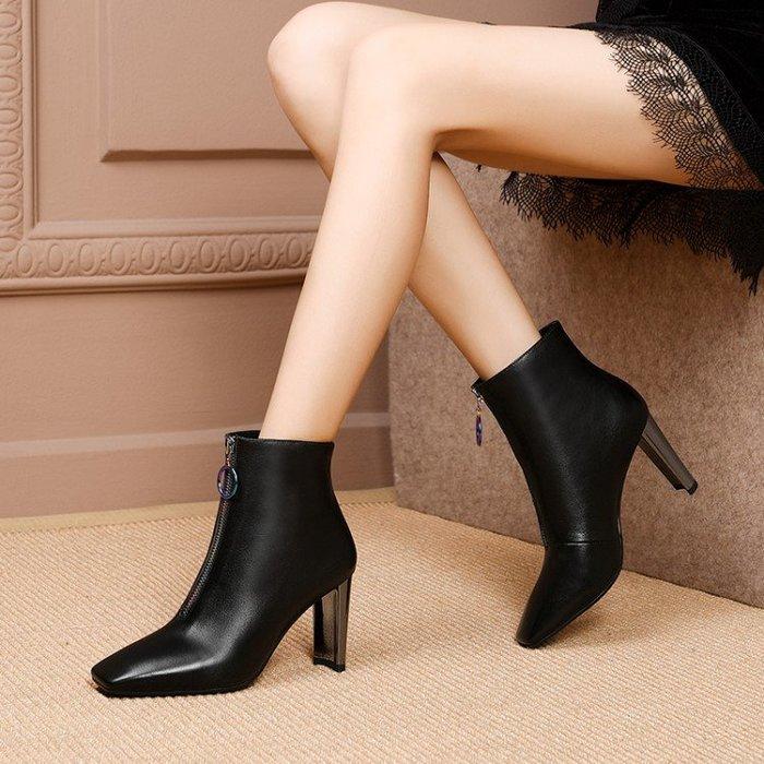 『Alice❤愛麗絲』春秋季新款短靴真皮方頭粗跟高跟短靴女春秋單靴靴子馬丁靴短筒