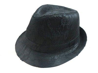 ☆二鹿帽飾☆ 秋冬限定/ 男帽女帽 -流行(全黑亮片蕾絲)緞帶設計棉質爵士帽-紳士帽-黑色