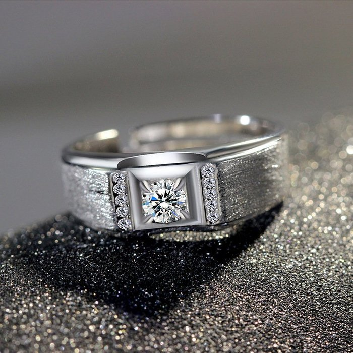 日韓時尚白金男款磨砂鋯石水鑽可調式開口戒指情人節禮物生日禮物買一送二