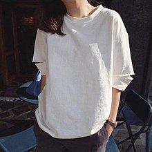 時髦開口中袖圓領棉T恤 萌蔓物語【KX2772】韓氣質女上衣