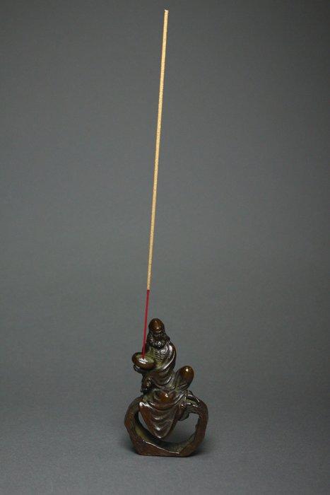 悅年堂 --- 銅 達摩像 香插 臥香座 本週特惠 起標價1000元