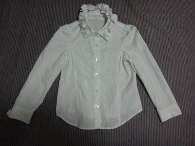 A020 Nicholas & Bears法式 女童氣質款白襯衫 公主玫瑰花領 4Y Jacadi風 賣場還有POLO