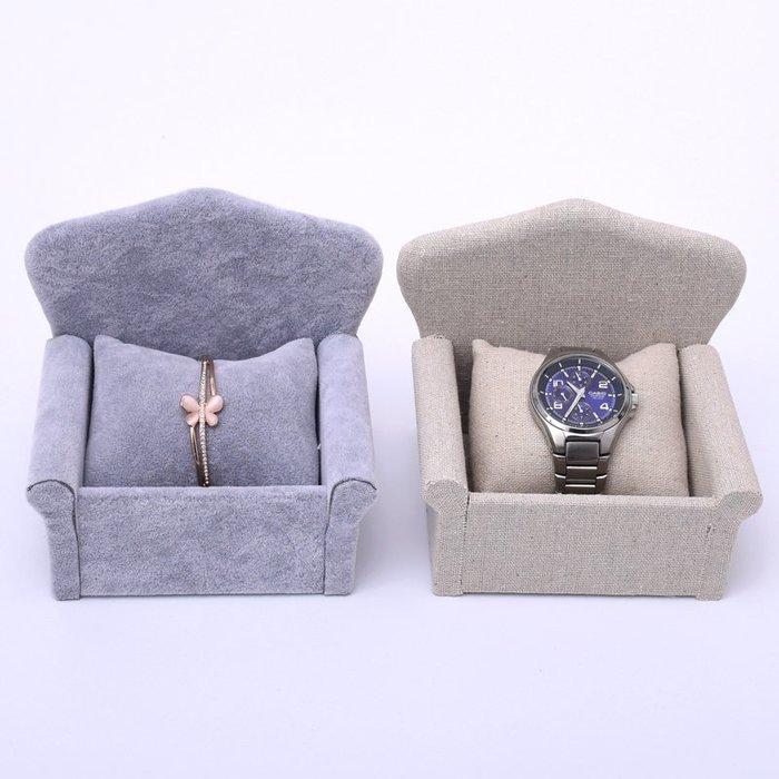 聚吉小屋 #麻布手鐲架 手表盒 冰花絨沙發手表展示架櫥窗手鏈珠寶展示道具