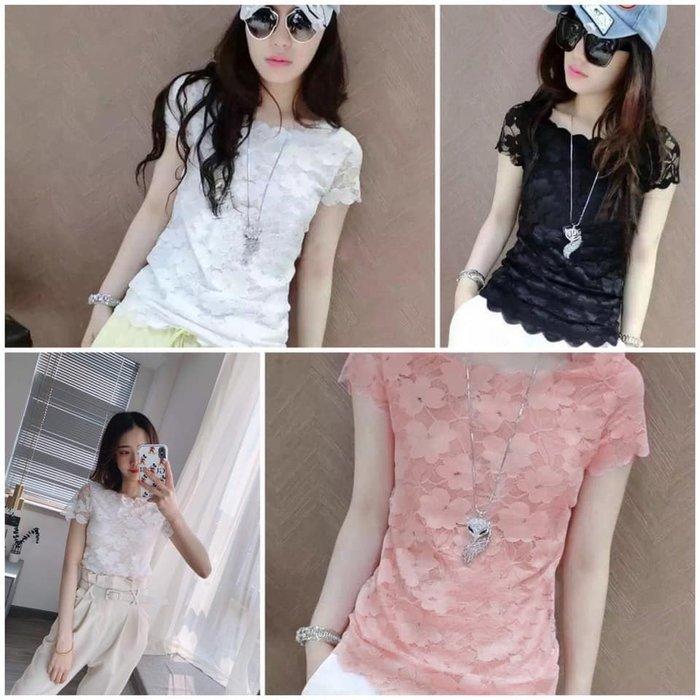 貓姐的團購中心~266Z 柔美蕾絲衫~3種顏色~S-4XL一件450元~預購款