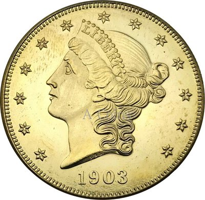 老董先生美國2003 20美元自由頭 - 雙鷹與座右銘二十美元黃銅金屬復制硬幣