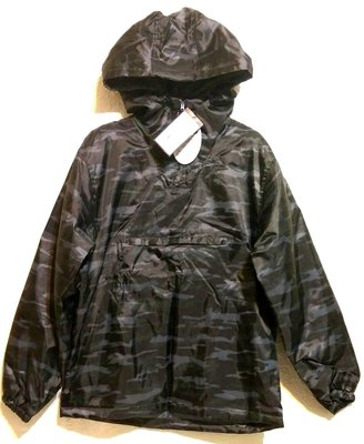 日本 Big Man 男 連帽 防風 防潑水 舖棉 風衣 外套 尺寸XL 黑色迷彩
