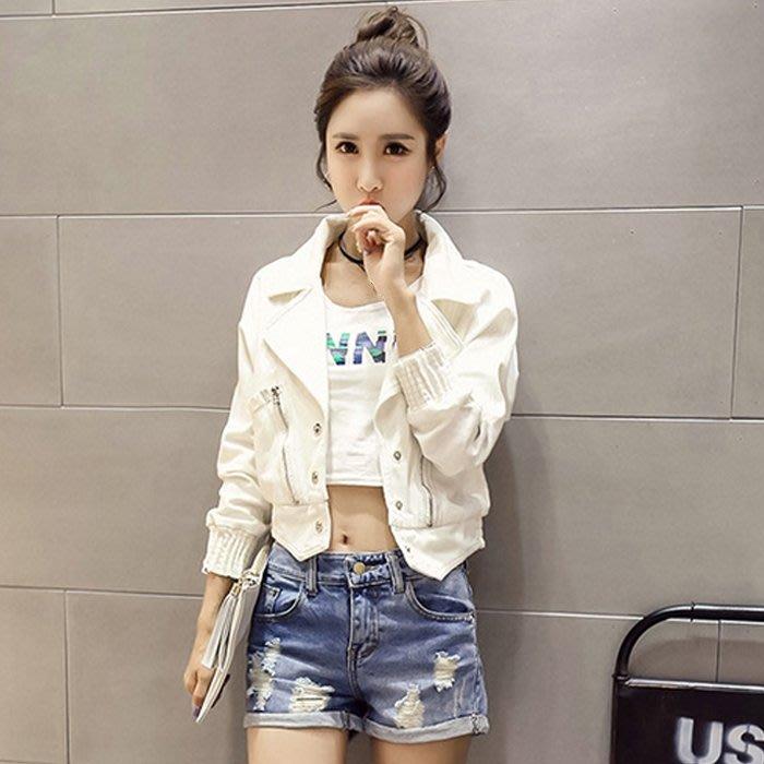 (免運)韓版女裝白色牛仔短外套春裝新款女時尚潮小短款寬松夾克上衣【莉芙小鋪】