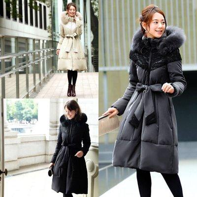 預購 日本 蕾絲裝飾 狐狸毛 羽絨連帽外套 羽絨外套