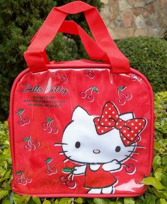 【卡漫迷】 Hello Kitty 便當袋 紅 ㊣版 手提袋 拉鍊式 餐袋 保溫袋 保冷袋 方型 造型 保冰袋 飲料袋