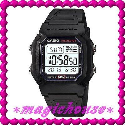 *夢幻精品屋*CASIO原廠公司貨~10年電池電子錶W-800H-1A黑膠