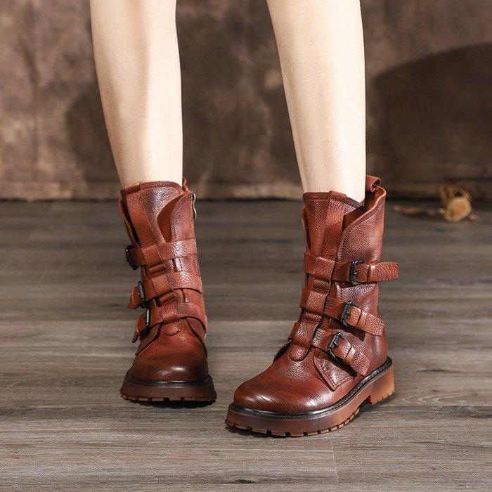 *菇涼家*019秋冬新款手工真皮馬丁靴女鞋個性軟牛皮防滑中筒靴復古单靴子