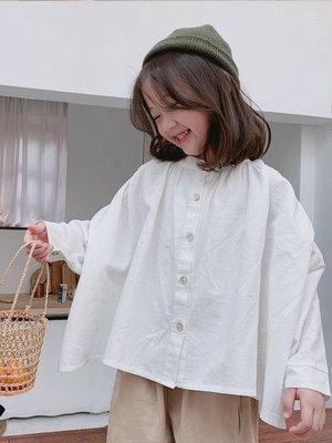 中大童 思家良品 女大童 2019/2/22春裝新品2-12歲 韓版 女童  純色 寬鬆 上衣 襯衫  白色