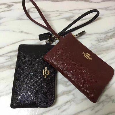 NaNa COACH 55206 黑色 酒紅 浮雕手拿包 手拿包 L型拉鏈 可放IPHONE6 附購證