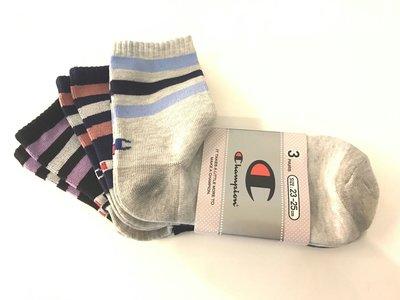 日版CHAMPION女版中統條紋襪~非隱形襪唷