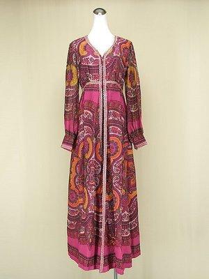 ◄貞新二手衣►粉紅印度尼泊爾圖紋紗麗波西米亞亮片蕾絲V領長袖棉質洋裝M號 (60704)