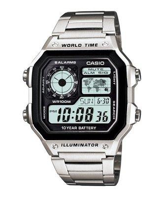 CASIO卡西歐世界地圖顯示世界時間地點防水100米、LED照明、1/100秒計時碼錶(AE-1200 WHD- 1A)