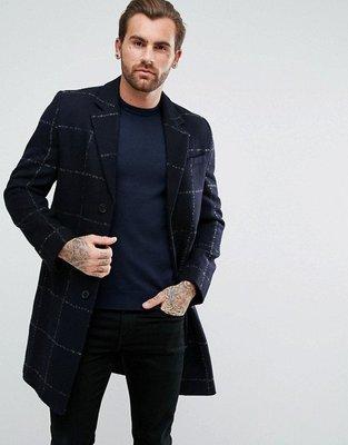 ~The Black Dan Moccani~ [新款] ASOS Checked 深藍大格紋 羊毛/毛料長大衣