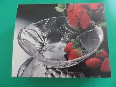 大熊舊書坊-DESSERT A37189W BOWL-1 SOGA 玻璃盤/水晶盤 立體浮雕水果葉片造型  -A4