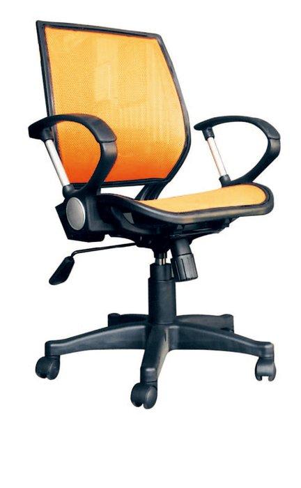 【南洋風休閒傢俱】辦公家具系列-橘網布氣壓後仰有手辦公椅 辦公書桌椅 (金632-6)