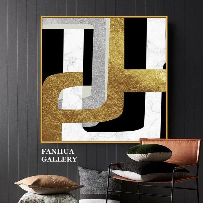 C - R - A - Z - Y - T - O - W - N 純手繪油畫輕奢流年憶夢黑白金銀箔金抽象幾何掛畫藝術畫立體筆觸油畫原創抽象巨幅裝飾畫接待室掛畫